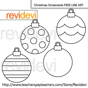 Free Line Art - Coloring Clip Art / Christmas Ornaments (s