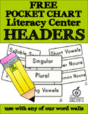Free Literacy Center Labels for Pocket Charts