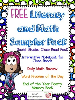 Free Literacy and Math Sampler Pack- 2 Brainy Apples