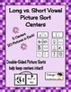 Free Long Vowel vs. Short Vowel Picture Sorting Center Sam