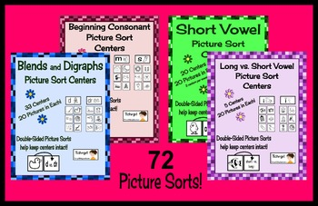 Picture Sorting Center Bundle  72 sets of Literacy Centers
