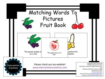 Free Matching Pictures to Words Fruit Book (level C teachi