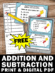 FREE Addition and Subtraction Facts Task Cards 2nd Grade M