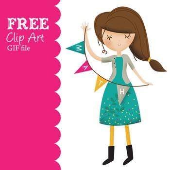 Free Math Girl clip art