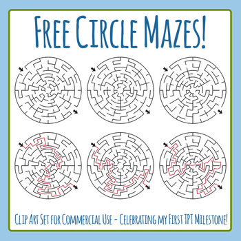Free Mazes for Commercial Use - Celebrating My First TPT Milestone! by Hidesy's Clipart