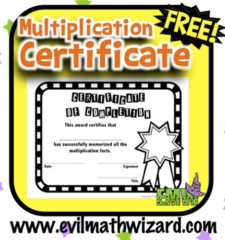 Free Multiplication Certificate and Chart to celebrate mem