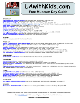 Free Museum Days in Los Angeles  Field Trip Ideas for Teac