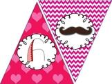 Free Mustache Valentine Banner