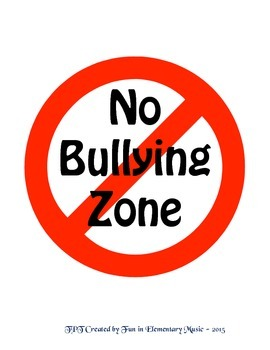 Free No Bullying Zone Poster Sign