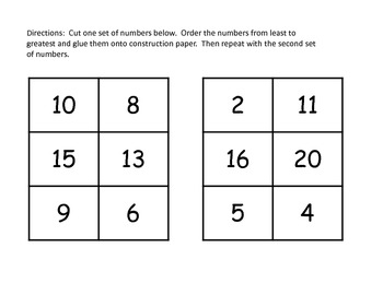 Free Number Ordering Non-Sequential Numbers to 30 Activity