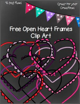 Free Open Heart Frames- 12 png Files (Black and White Mast
