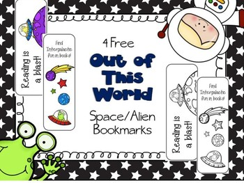 Free Out of This World Space Alien Bookmarks