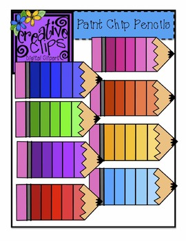 {Free} Paint Chip Pencils Clipart