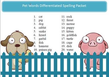 Free Pets spelling packet - 20 words, word work by Spellin