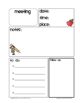 """Free Planner Forms- Meetings and """"To Do's"""""""