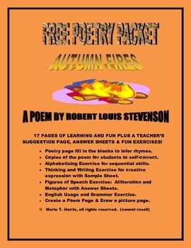 """Free Poetry Packet with Worksheets for """"Autumn Fires"""" by R"""