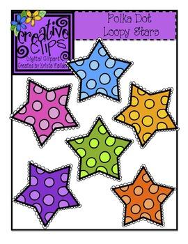{Free} Polka Dot Stars {Creative Clips Digital Clipart}