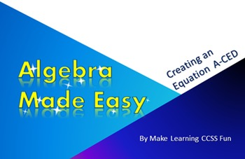 Free PowerPoint Make Algebra Easy Create an Equation CCSS (A-CED)