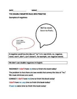 Free Practice Worksheet on Double Negatives