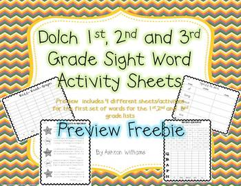 Free Preview of Grade 1,2 and 3 Dolch Sight Word Activites