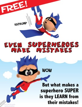 Free Printable Poster - Even Superheroes Make Mistakes, Fo