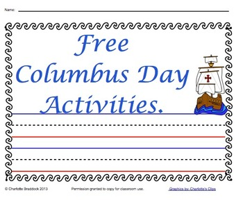 Free Printables for Columbus Day from Charlotte's Clips