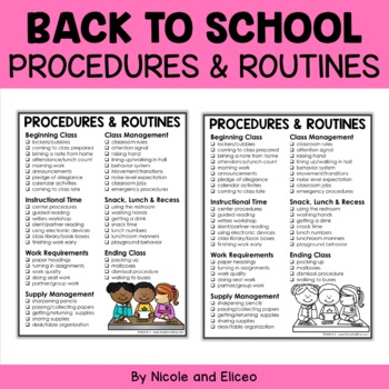 Free Procedures and Routines Checklist