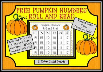Free Pumpkin Numbers Roll and Read