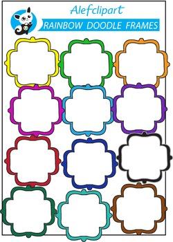 Free !!! Rainbow Doodle Frames. Quatrefoil.