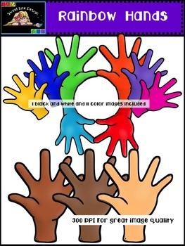 Clipart : Free Rainbow Hands {Sweet Line Design Clipart}