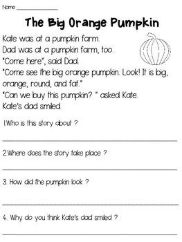 Pumpkins Reading Passage FREE