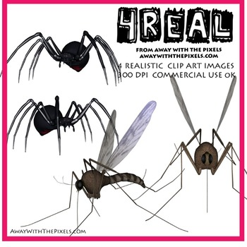 Free! Realistic Mosquito and Spider Clip Art Images