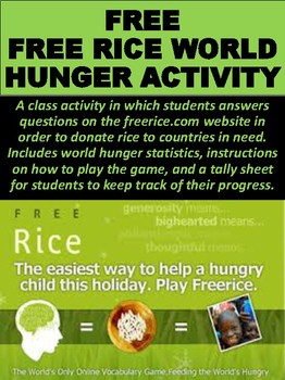 FREE Free Rice World Hunger Activity