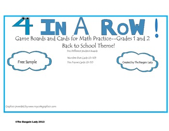Free Sample 4 In A Row!  Back to School Theme!