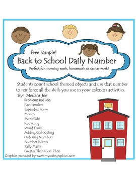 Free Sample Back to School Daily Number