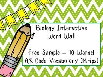 Free Sample - Biology Interactive Word Wall! - QR Code Voc