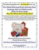 Free Sample From My 5 Week Morning Work Activity Pack ~ La