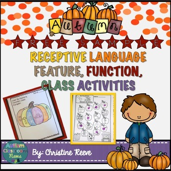 Free Sample: Receptive Vocabulary Activities for Fall: Fea