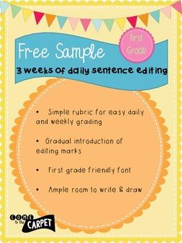 Free Sample of 1st Grade Daily Sentence Editing