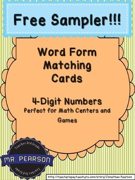 Free Sampler - Numbers in Written Form Matching Cards