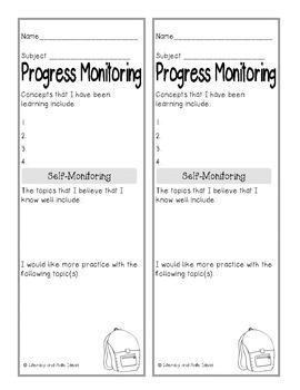 **Free** Self-Monitoring Progress Forms