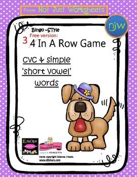 Free colored Short Vowel cvc / simple word Bingo-style Thr
