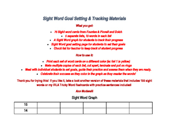 Free Sight Word Graphing and Goal Setting