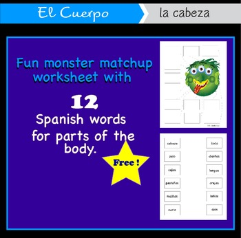 Free Spanish El Cuerpo match-up page for body parts