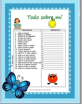 Free Spanish Questions and answers -All about me -Todo sobre mi'
