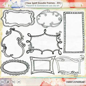 Free Spirit Digital Frames - Hand Drawn Borders and Label