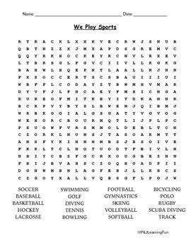 Free Sports Wordsearch