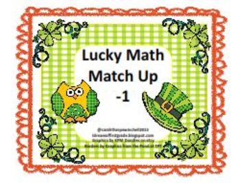 St. Patrick's Day Lucky Math Match Up -1 Math Center Game
