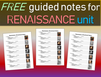 Free Structured Notes for Renaissance Unit PowerPoint