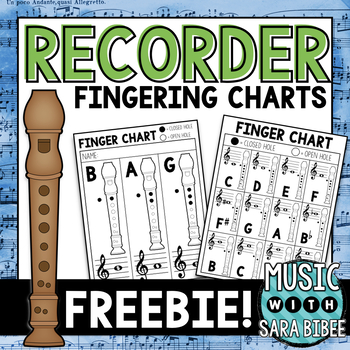 Free Student Recorder Finger Chart- Black and White
